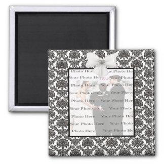 Damast-Eleganz-Hochzeits-Quadrat-Magnet Quadratischer Magnet