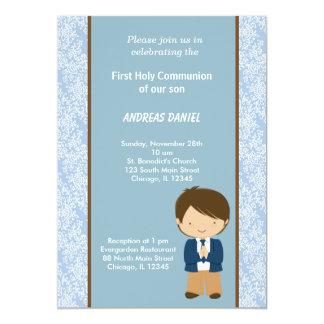 Damast-heilige Kommunion 12,7 X 17,8 Cm Einladungskarte