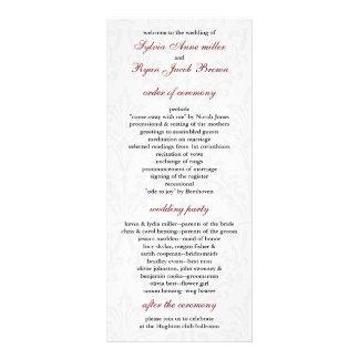 Damast-Hochzeitsprogramm Bedruckte Werbekarte