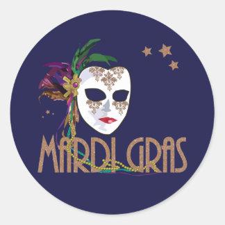 Damast-Karneval-Masken-Aufkleber Runder Aufkleber