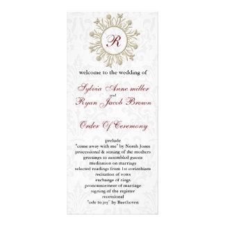 Damast MONOGRAMM Hochzeitsprogramm Karten Druck