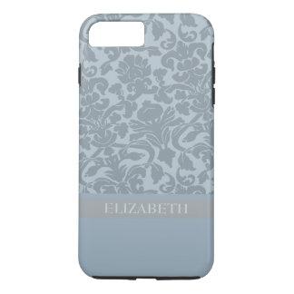 Damast-Muster mit Monogramm - Blau iPhone 8 Plus/7 Plus Hülle