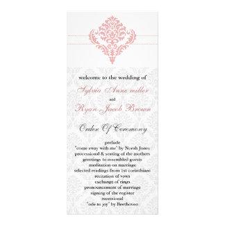 Damast rosa Hochzeitsprogramm Karten Druck