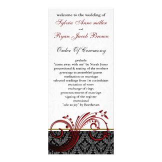 Damast rotes Hochzeitsprogramm Bedruckte Werbekarte