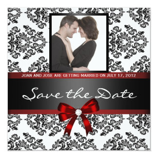 Damast-Save the Date Foto Quadratische 13,3 Cm Einladungskarte