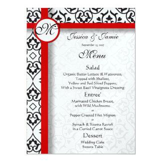 Damast-Seitengrenzrotes Ordnungs-Hochzeits-Menü 16,5 X 22,2 Cm Einladungskarte
