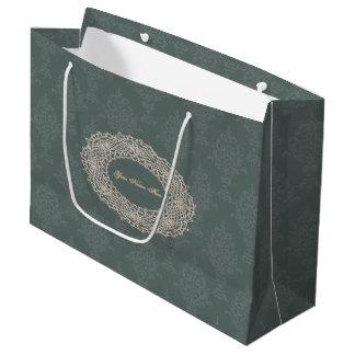Damast-weises Grün-Ton auf Ton-Häkelarbeit Große Geschenktüte