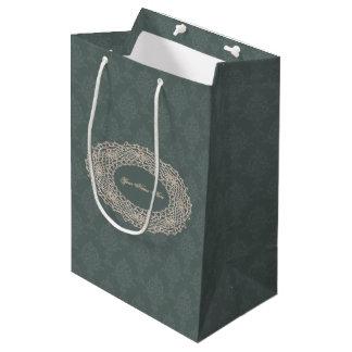 Damast-weises Grün-Ton auf Ton-Häkelarbeit Mittlere Geschenktüte
