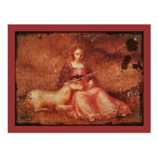 Dame Chastity Holding Unicorn Postkarte