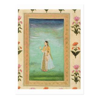 Dame, die eine Blume, vom kleinen Clive Album hält Postkarte