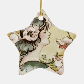 Dame Keramik Stern-Ornament