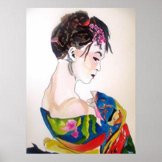 Dame mit Kimono Poster