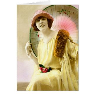 Dame mit Sonnenschirm Karte