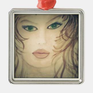 Dame Portraiat Silbernes Ornament