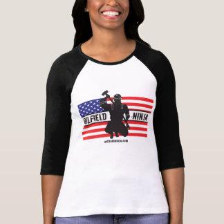 Damen-Ölfeld Ninja 3/4 Hülse Jersey-Shirt T-Shirt