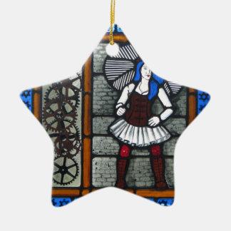 Dampf-Punk-Mädchen Keramik Stern-Ornament