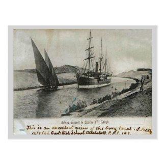 Dampf und Segel in Suezkanal Postkarte