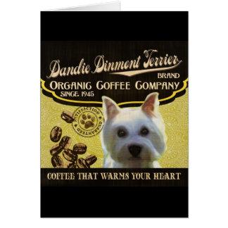 Dandie Dinmont Terrier-Marke - Bio Kaffee-Baut. Karte
