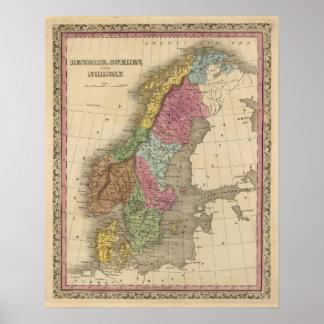 Dänemark, Schweden, Norwegen Poster