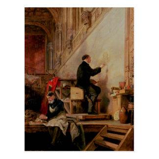 Daniel Maclise, der sein Wandgemälde malt Postkarte