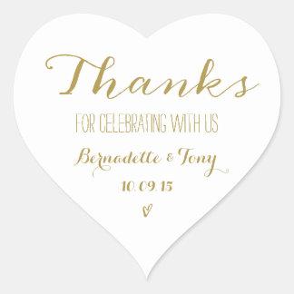 Dank für das Feiern mit uns! Wedding danken Ihnen Herz-Aufkleber