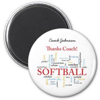 Dank-Softball-Trainer-Wörter von der Gruppe, Team, Runder Magnet 5,1 Cm