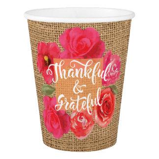 Dankbare und dankbare Leinwand-Blumen-Danksagung Pappbecher