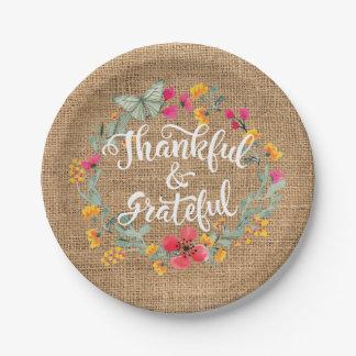 Dankbare und dankbare Leinwand-Blumen-Danksagung Pappteller
