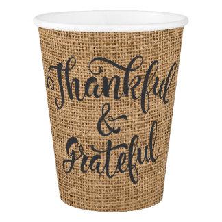 Dankbare und dankbare Leinwand-Danksagung Pappbecher