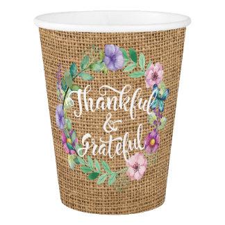 Dankbare und dankbare Leinwand-Kranz-Danksagung Pappbecher