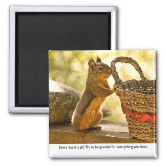 Dankbarkeits-Eichhörnchen Quadratischer Magnet
