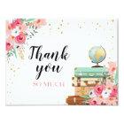 Danke, Blumen-Fräulein zu Frau Travel Pink zu Karte