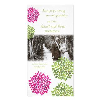 Danke das heiße Rosa u. grüne Blüte, die Foto Wedd Foto Karten