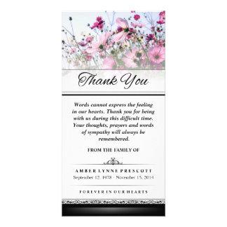 Danke, die rosa Blumen-Feld-Wörter nicht Karte