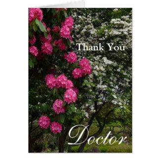 Danke Doktor-Rosa und weißes Blumen-/Garten Karte