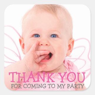 Danke Foto-Aufkleber für Baby oder scherzt Party Quadrat-Aufkleber