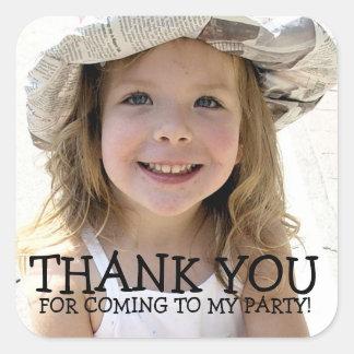 Danke Foto-Aufkleber für KinderParty Quadrat-Aufkleber