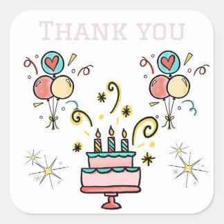 Danke für Geburtstags-Geschenk-Aufkleber Quadratischer Aufkleber