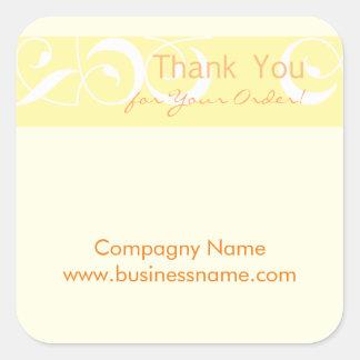 Danke für Ihren Auftrag korporativen gelben Quadratischer Aufkleber