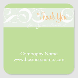 Danke für Ihren Auftrag korporativen grünen Quadratischer Aufkleber