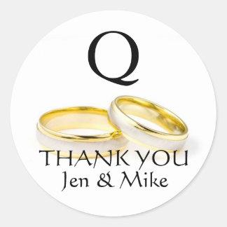 Danke Gastgeschenk Hochzeits-Aufkleber-Goldringe Runder Aufkleber