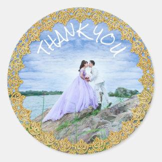 Danke Hochzeits-Aufkleber-Braut-und Bräutigam-Foto Runder Aufkleber