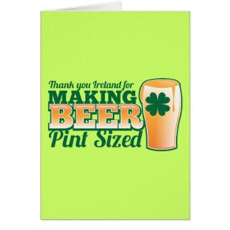 Danke Irland für die Herstellung des Bierhalben Grußkarte
