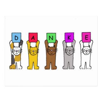 """Danke, Katzen-Sprichwort """"dankt"""" auf Deutsch Postkarte"""
