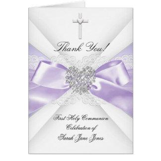 Danke Mädchen-erster heilige Kommunions-Lavendel Mitteilungskarte