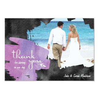 Danke, mit Fotowatercolor-lila Schwarzem zu 8,9 X 12,7 Cm Einladungskarte