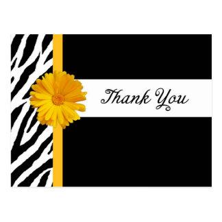 Danke mit Zebra-Druck und Girly gelbem Postkarte