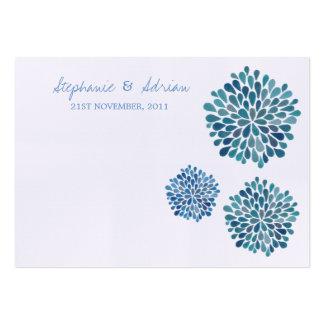 Danke oder Tabellen-Platzkarte-Blau-Dahlien Visitenkarte