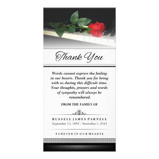 Danke Rote Rose auf Klavier - Wörter können nicht Personalisierte Photo Karte