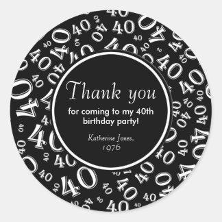 Danke: Schwarzweiss-40. Geburtstags-Party Runder Aufkleber